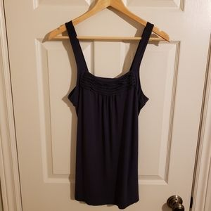 2/$25 Reitmans Long Tank with Ruffle Detail Navy Size Small